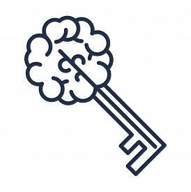 Key Brain Sign Isolated, Creative Thinking Icon