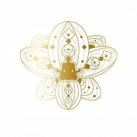 Yoga And Meditation Label Design, Lotus Template