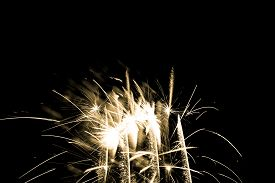 Luxury Fireworks Event Sky Show With Yellow Glow Stars. Premium Entertainment Magic Star Firework At