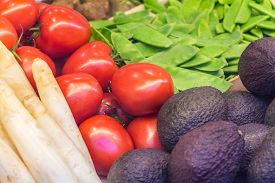Fresh Market Vegetables Asparaguses Tomatoes Avocados Beans. Offer Mix Box Of Ripe Organic Vegetable