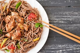 Japanese Buckwheat Noodle Soba With Vegetables, Chicken Meat And Soy Sauce. Healthy Japanese Menu. S