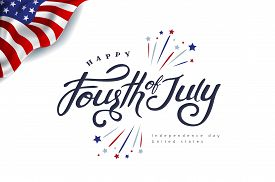 Fourth Of July Calligraphy Vector Illustration. Independence Day Usa Banner Template Background.4th