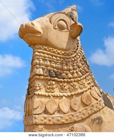 Big Statue Of Nandi Bull In Front Of Hindu Gangaikonda Cholapuram Temple