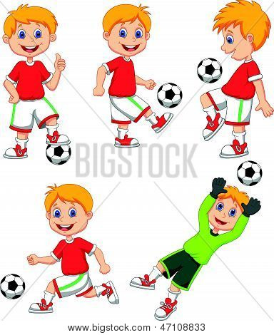 Boy cartoon playing soccer