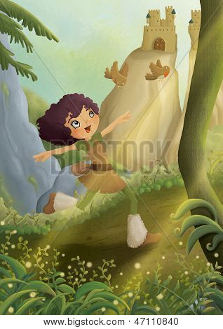 girl running in a forest