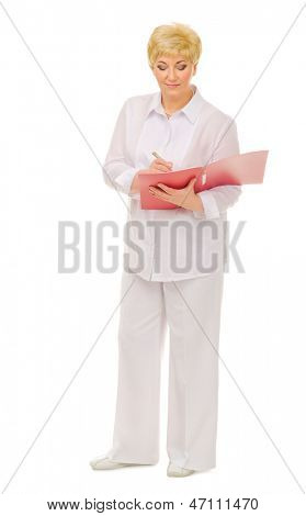 Senior woman with folder isolated