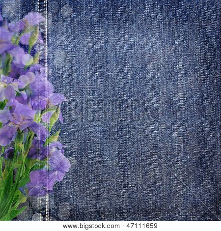 Background Denim Texture With Purple Flowers