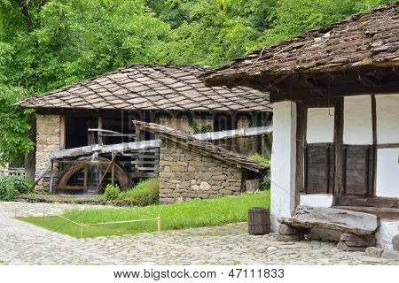 Water Mill, An Old House And Wooden Bench In Etara, Bulgaria