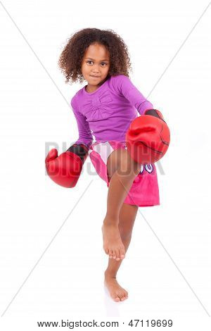Little Muay Thai Boxing Girl Using Her Knee