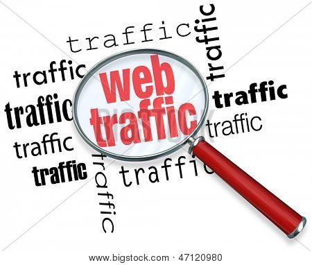 A magnifying glass hovering over several instances of the word traffic, symbolizing the search for ways to boost and analyze web traffic on the Internet