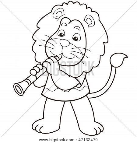 Cartoon Lion Playing A Clarinet