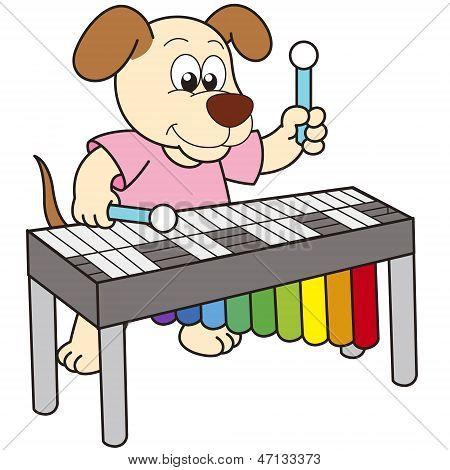 Cartoon Dog Playing A Vibraphone