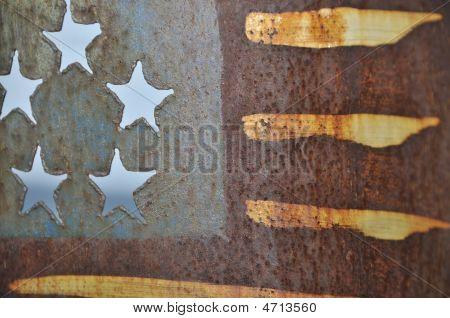 Metal Stamped Painted American Flag