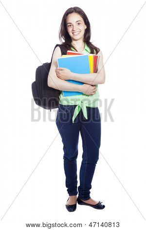 Full lenght portrait of a female student carring notebooks and backpak, isolated on white