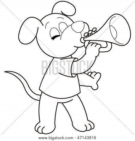 Cartoon Dog playing a trumpet.black and white poster