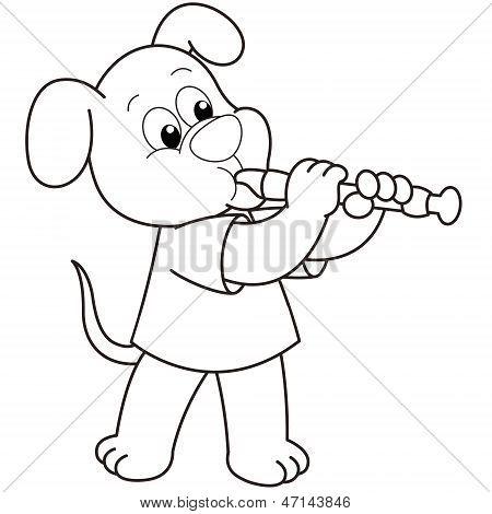 Cartoon Dog Playing An Oboe