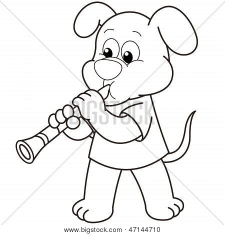 Cartoon Dog Playing A Clarinet