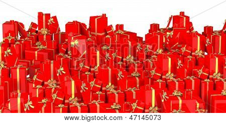 Holiday gifts background - red
