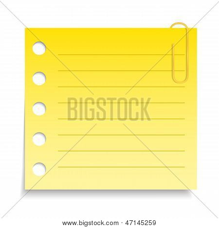Yellow Paper Note with Clip