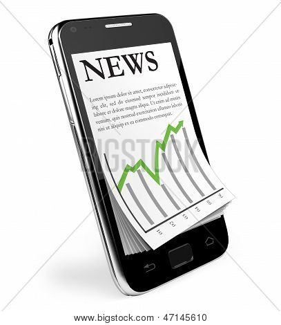 The News. Black Smartphone with open News.