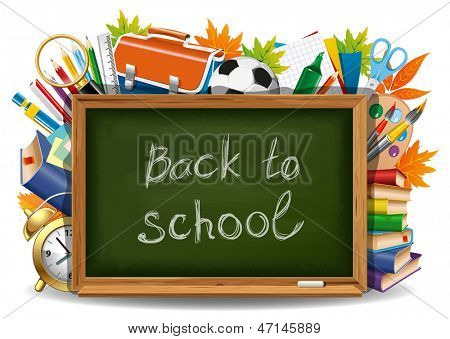 Back to school. Green chalkboard with school supplies. Vector illustration.