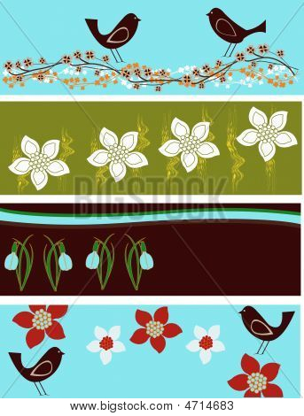 Abstract Floral Web Banners