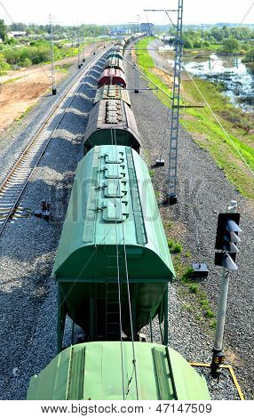 Freight train in motion top view