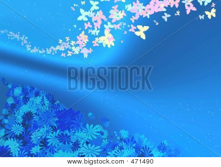 Blue Material With Butterfly