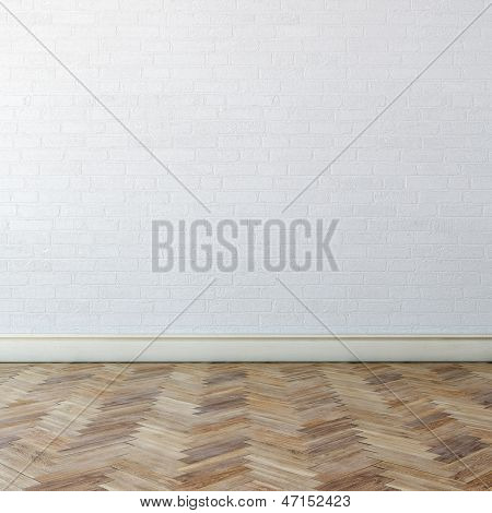 New Interior With White Wall And Classic Parquet