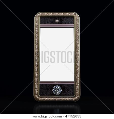 Exclusive mobile phone with blank screen and Diamonds