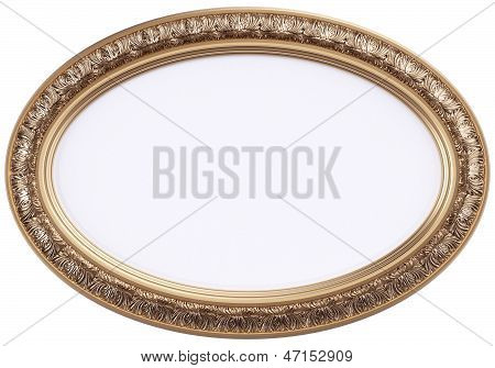 oval gilded picture frame or mirror isolated on white poster