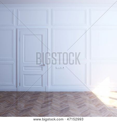 new white room with door in the sun (front view)