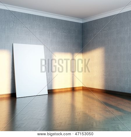 grey gallery room with blank frame on parquet floor