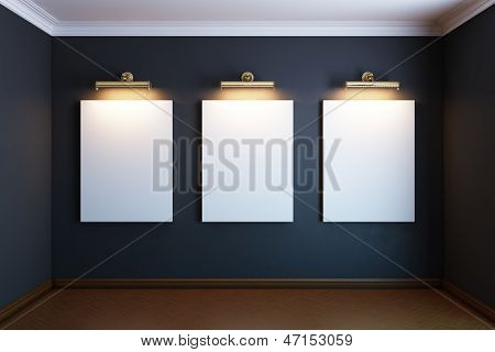 gallery interior with golden frames and lighters (black version)