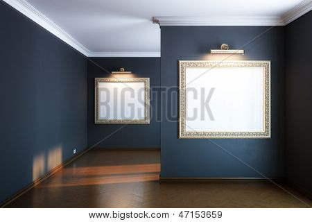 new interior gallery with wooden parquet