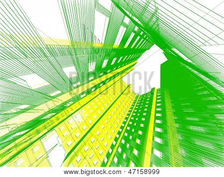 3d render abstract modern architecture background poster