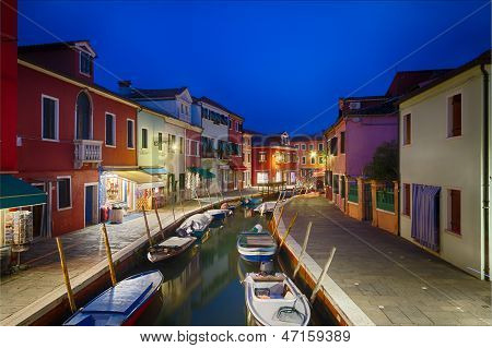 Colorful Houses In Burano At Dusk, Venice, Italy