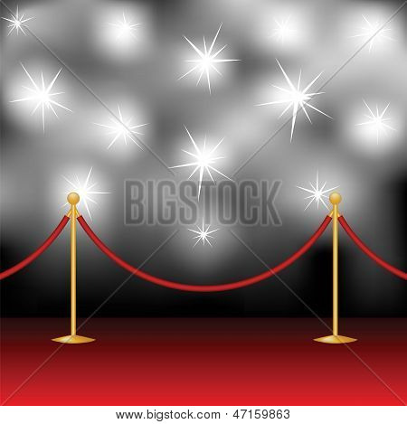 Red carpet stanchion and paparazzi. Vector illustration poster