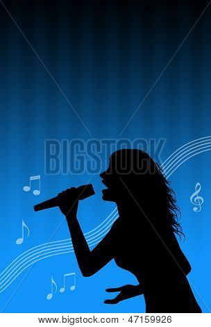Karaoke Singer With Musical Notes
