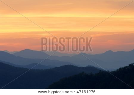 Orange Morning Sunrise On Mountains