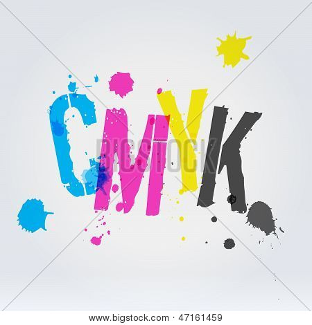Cmyk Letters In Paint Splashes