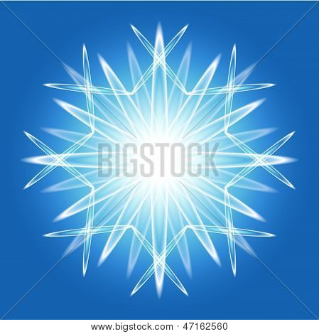 Abstract Snowflake Over Bleu