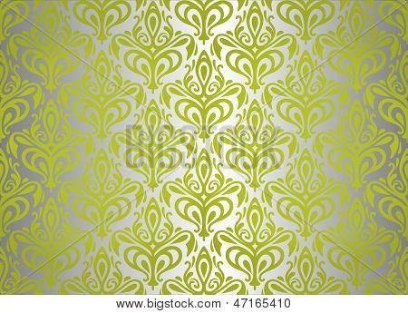 Green  & Silver Vintage Wallpaper Design 2