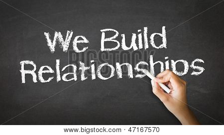 We Build Relationships Chalk Illustration