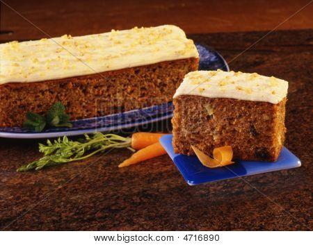 Carrot Cake Slice With Granite Background