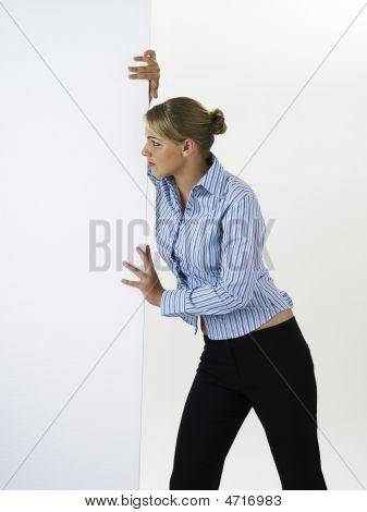 Woman Pushing Cardboard