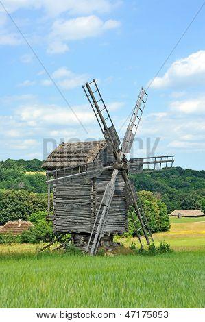 Antique ramshackle wooden windmill Pirogovo Kiev Ukraine poster