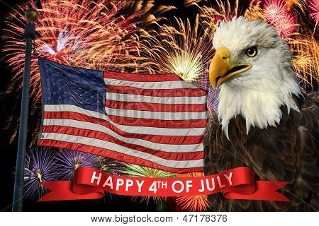 Fireworks display during fourth of July with American flag and bald eagle