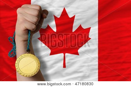 Gold Medal For Sport And  National Flag Of Canada