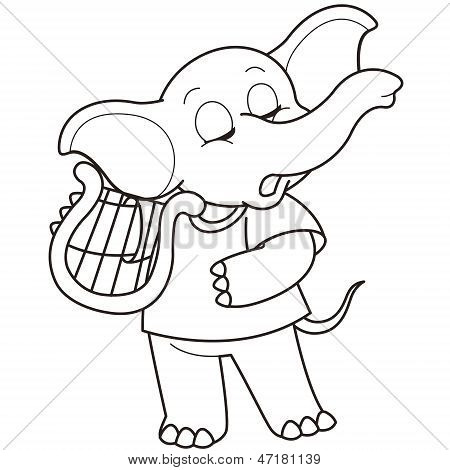 Cartoon Elephant Playing A Harp